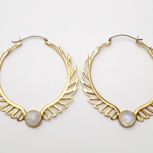 Feather Moonstone Hoop Earrings - Rainbow moonstone - Birthstone earrings - Aurora Brass