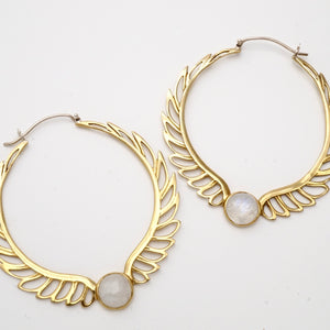 Feather Moonstone Hoop Earrings - Birthstone earrings -  Aurora Brass