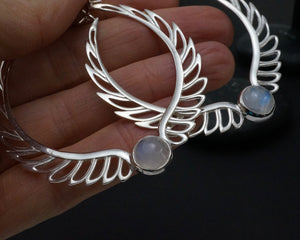 Feather Moonstone Earrings - Hoop Birthstone Earrings Moonstone - Sterling Silver Bohemian Hoop Earrings - Aurora Silver
