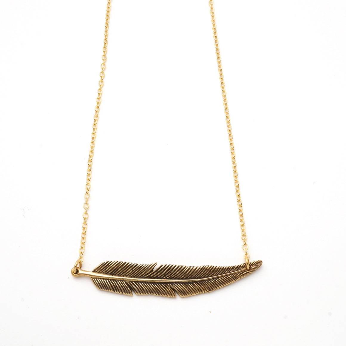Feather Bar Necklace Brass