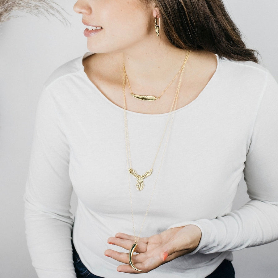 Feather Bar Necklace - Layering Necklace - 14K Gold Filled Chain