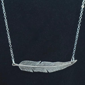 Feather Bar Necklace Sterling Silver