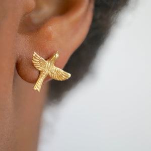 Bird Stud Earrings in Gold-tone (B228)