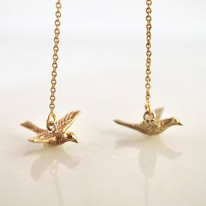 14K Gold Filled Threader Bird Earrings
