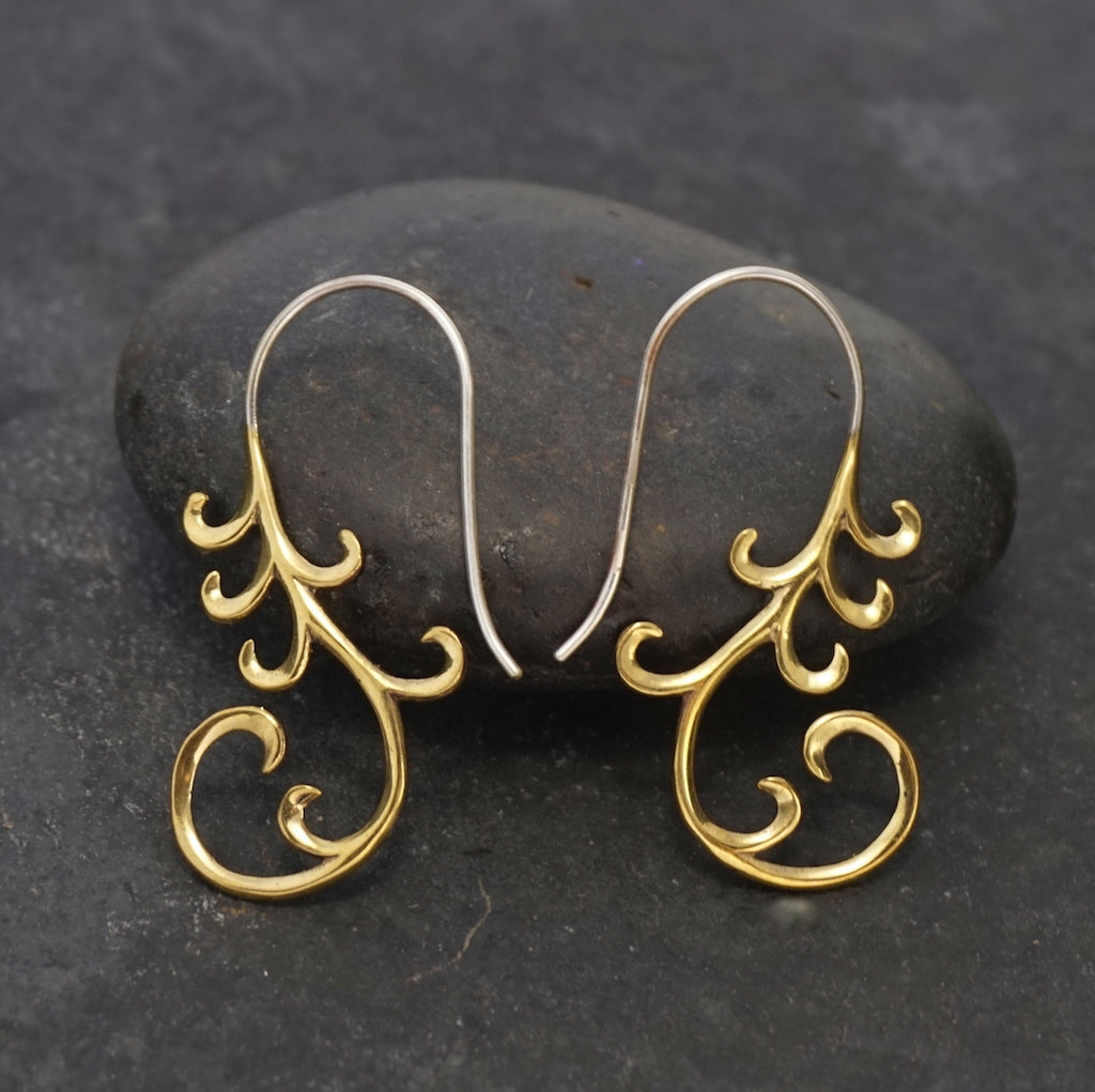 Cascade Art Nouveau Dangle Earrings Gold-Tone