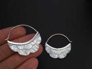 Crescent Moon Flower Hoop Earrings - Mother of pearl with Sterling Silver Bezel (s222)
