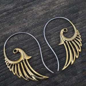 Feather Wing Earrings Brass with Silver Ear-stems