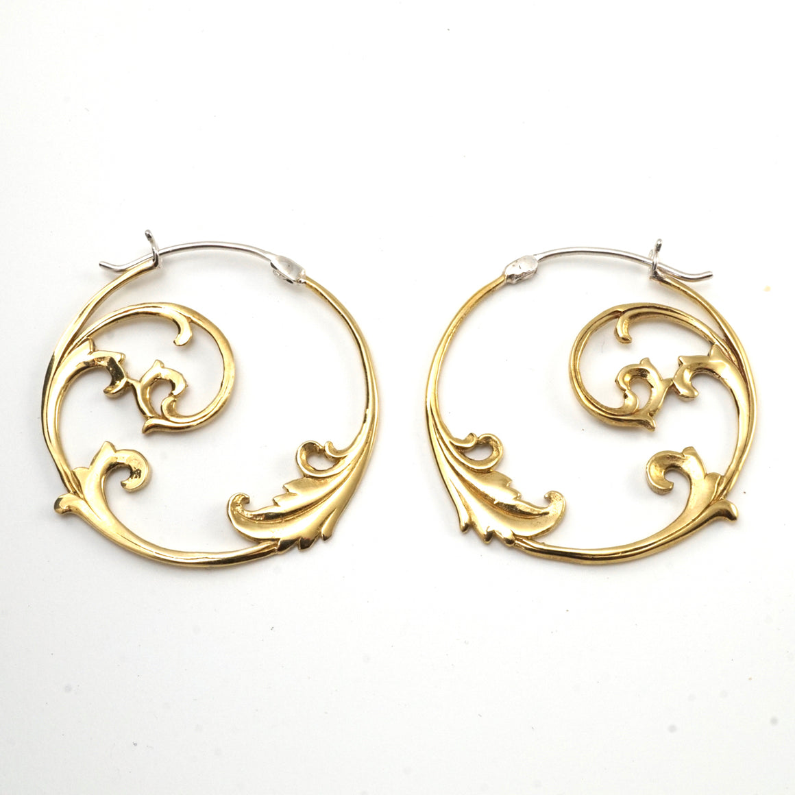 Floral Vine Hoop Earrings Brass with Silver Posts