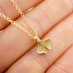 Ginkgo Necklace - Leaf pendant - Gold Filled delicate chain (B230)