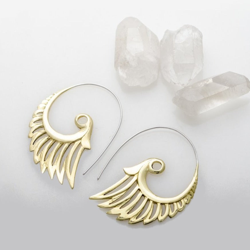 Angel Wing Earrings Tribal Brass