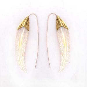 Feather Earrings - Mother of Pearl with Brass and Silver