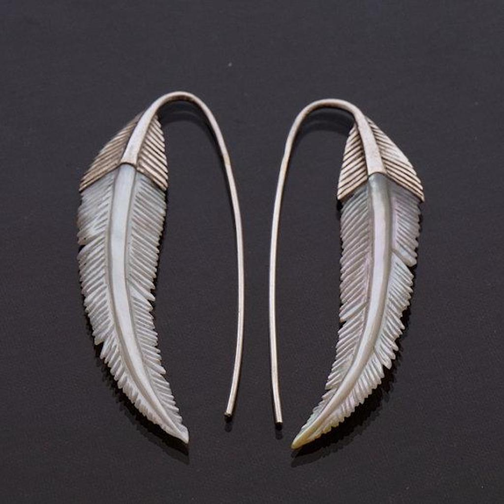 Feather Earrings Mother of Pearl and Sterling Silver