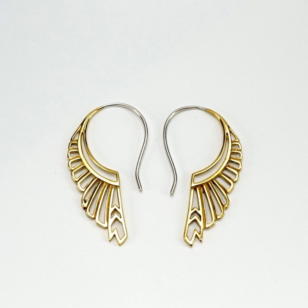 Feather Wing Earrings - gold-tone with silver ear-stems - huntress