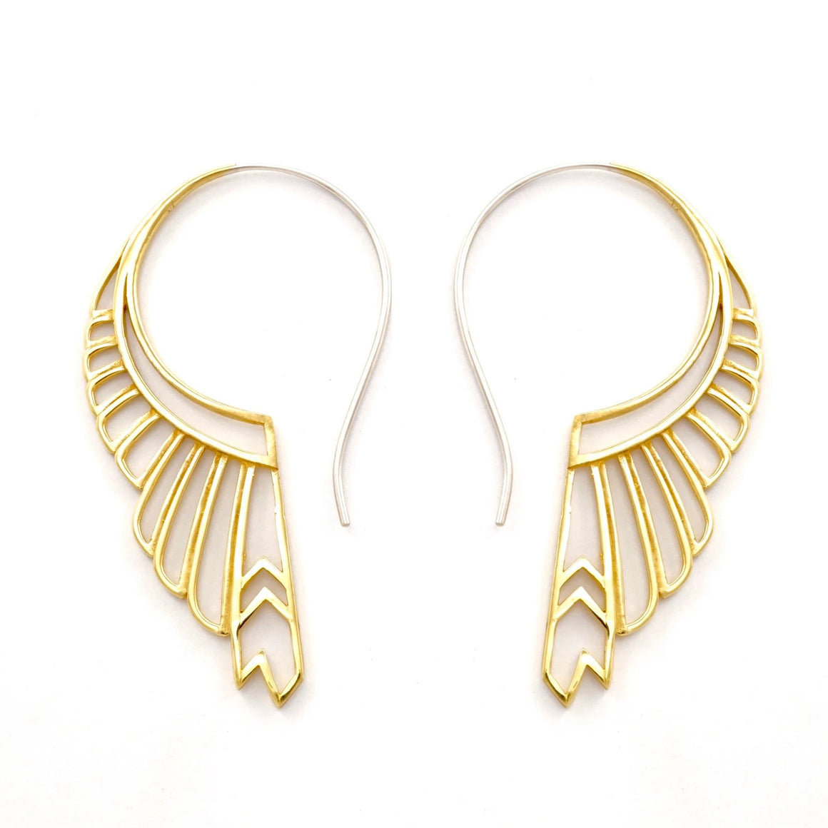 Feather Wing Earrings Large - gold-tone with silver ear-stems - huntress