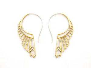 Large Feather Wing Earrings - solid sterling silver - Huntress