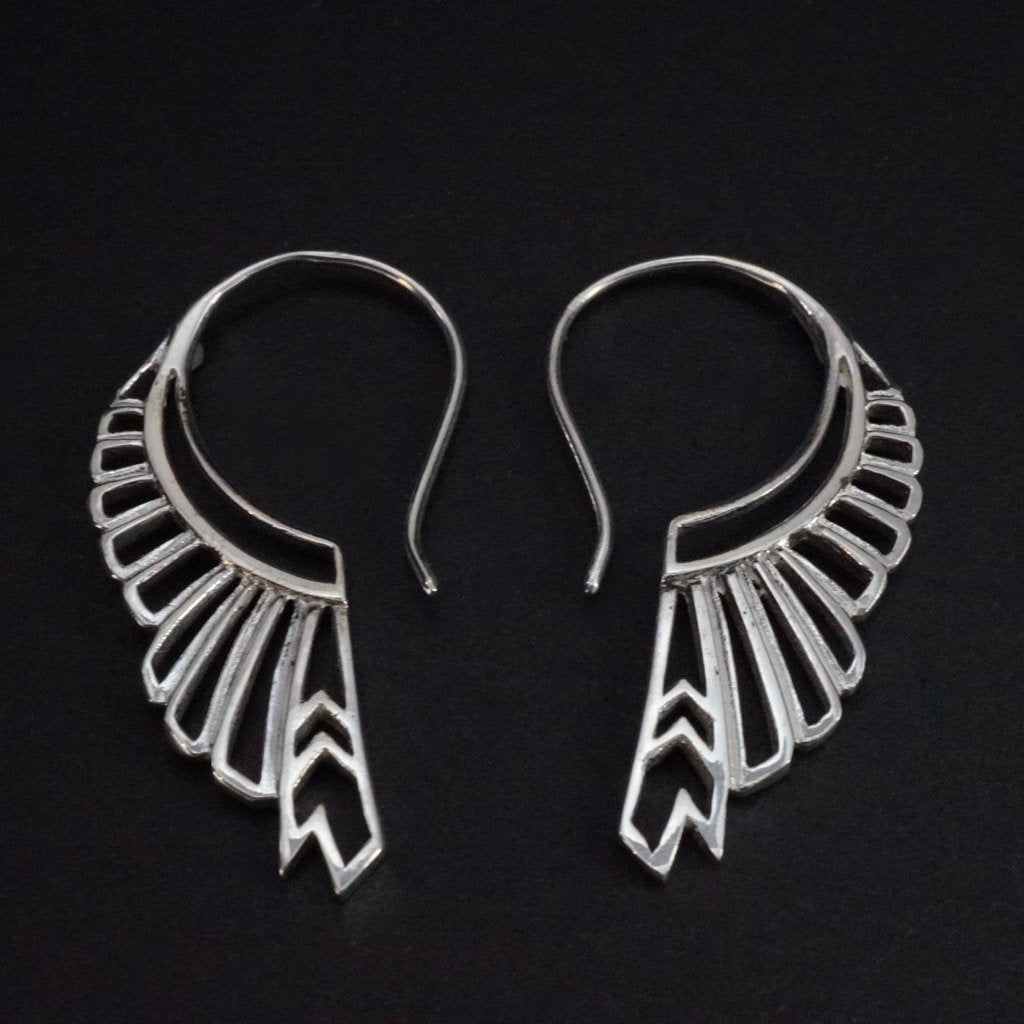 Solid Sterling Silver Feather Hoop Tribal Earrings