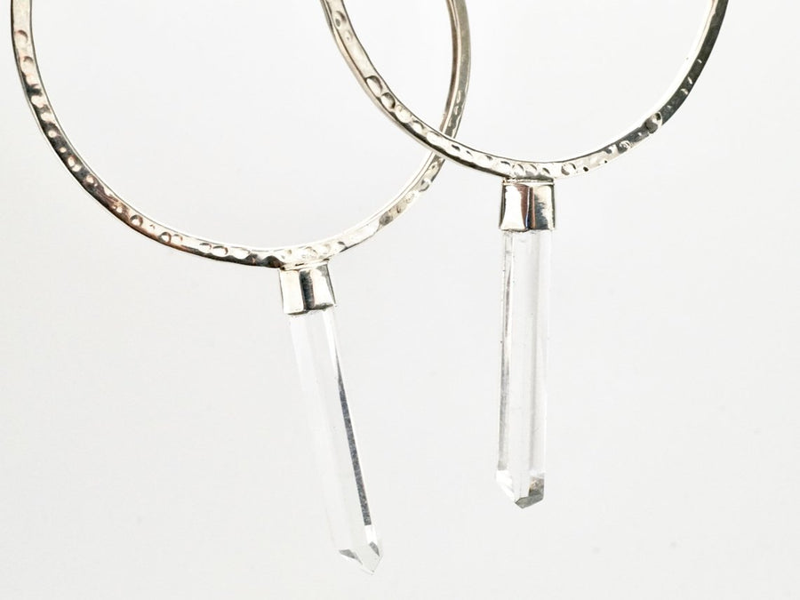 Crystal Hoop Earrings - Solid Sterling Silver