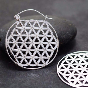 Flower earrings, big hoop earrings, flower of Life Earrings - Sacred Geometry Earring- Boho Hoops - silver