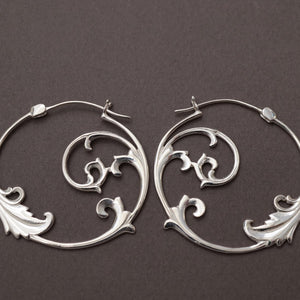 Floral Hoop Earrings Sterling Silver