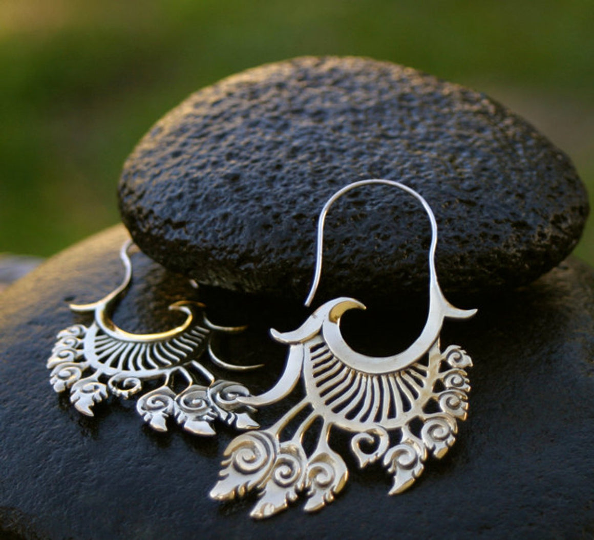 Feather Hoops Statement Earrings - Brass with Sterling Silver Ear-wires - Large Festival Jewelry