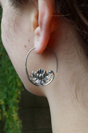 Silver Lotus Flower Hoop Earring - Solid Sterling Silver