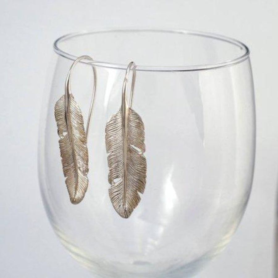 Silver Feather Dangle Earrings - Solid Sterling Silver