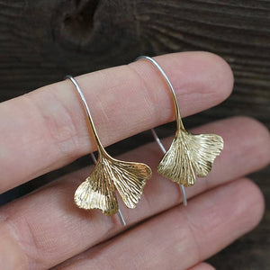 Gingko Leaf Earrings Sterling Silver Dangle earrings