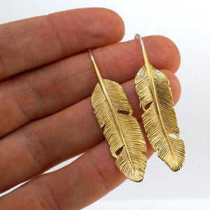 Feather Drop Earrings - Detailed Medium Artisan Feathers in Solid Brass with Sterling Ear-Wire