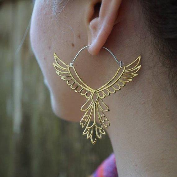 Feather Earrings Large - Bohemian Bird Hoops - Brass with Sterling Silver ear-wire - Thunderbird