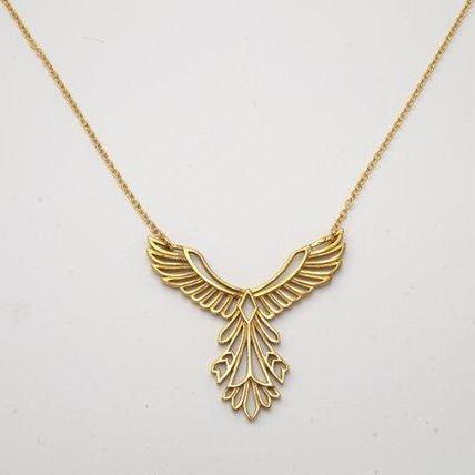 Rising Phoenix Necklace - Soaring Bird Pendant - Inspirational Gift