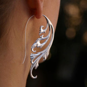 Art Nouveau Statement Earrings - Silver