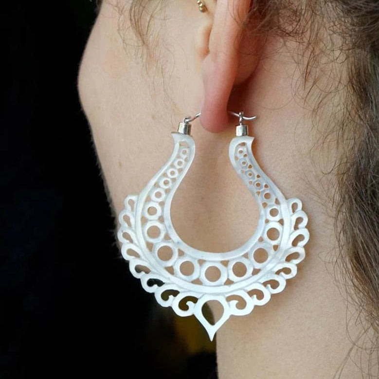 Mother Of Pearl Earrings - Large Ornate Hoops - Silver Clasps - Alchemy Hoops