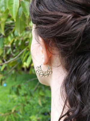 "Small hoop earrings - tribal brass hoop earrings - 1"" hoop earrings - beloved small"