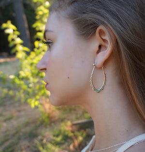 Sterling Silver Oval Scalloped Hoop Earrings