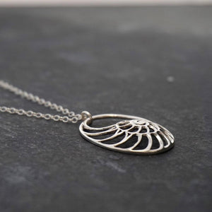 Nautilus Necklace Sterling Silver Ammonite Pendant