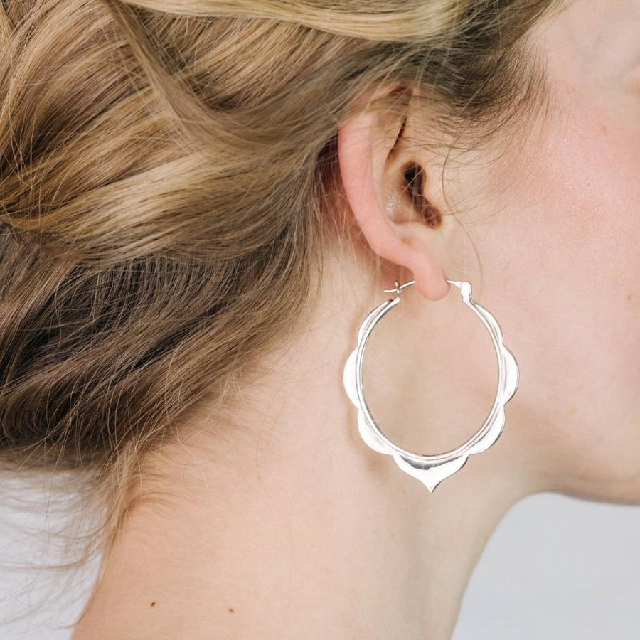 Moroccan Hoop Earrings Large Sterling Silver