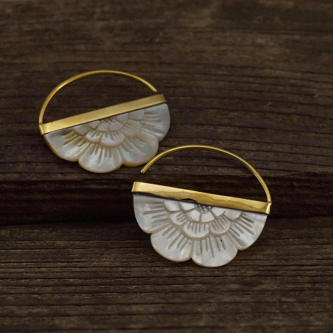Small Hand-Carved Mother of Pearl Flower Earrings with Brass bezel