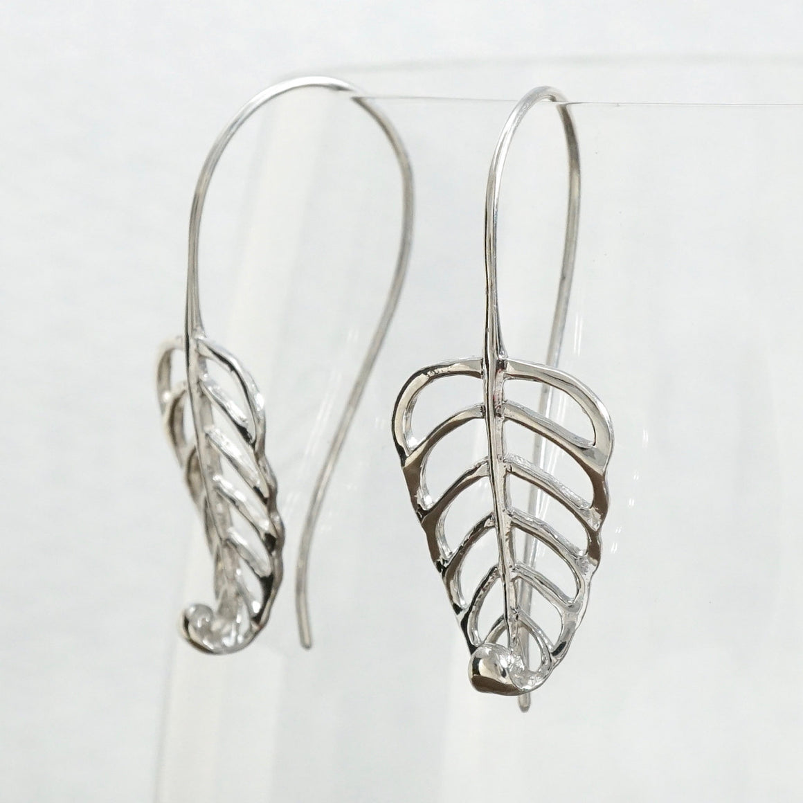 Leaf Earrings - Leaf Scroll - Sterling Silver