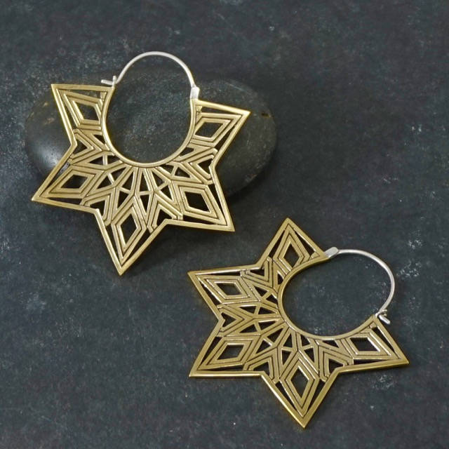 Large Bohemian earrings - Star Earrings, Mandala Earrings - brass w/ silver stems - amrita