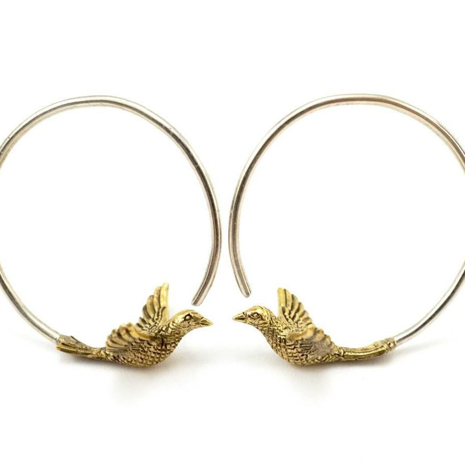 Small Bird Hoop Earrings - love birds - Nature jewelry