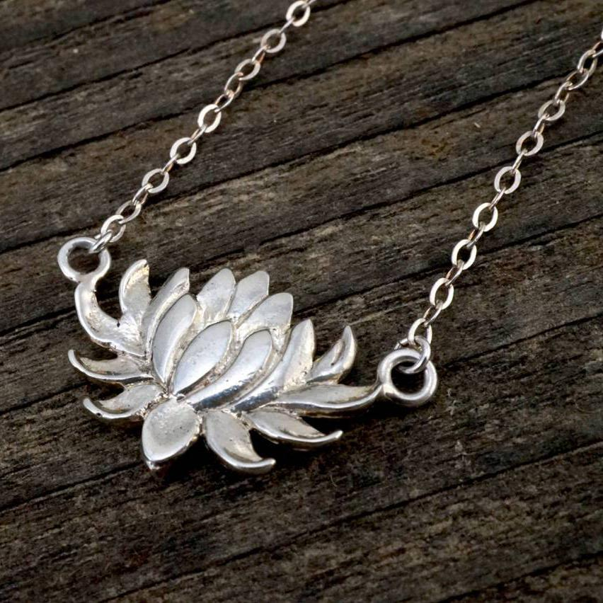 Flower Necklace - lotus necklace - lily necklace - flower necklace - solid sterling silver - Water Lily