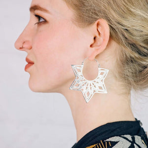 Star Earrings - Mandala Earrings - Statement Earrings - Sterling Silver- amrita