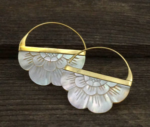 Boho Flower Hoop Earrings in Mother of Pearl - Brass Large