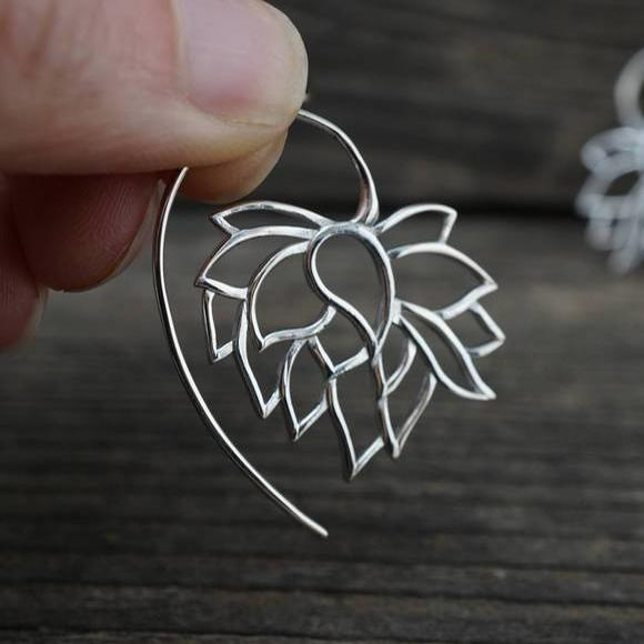 Lotus Earrings - Solid Sterling Silver tribal flower hoops