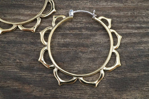 Medium Lotus Hoop Earrings Brass