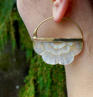 Mother of Pearl Earrings - Large Flower hoops -  Sterling Silver Bezel (S160)