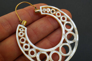 Large Mother Of Pearl Earrings - Shell Hoops- String Of Pearls- Boho earrings- Nova Hoop