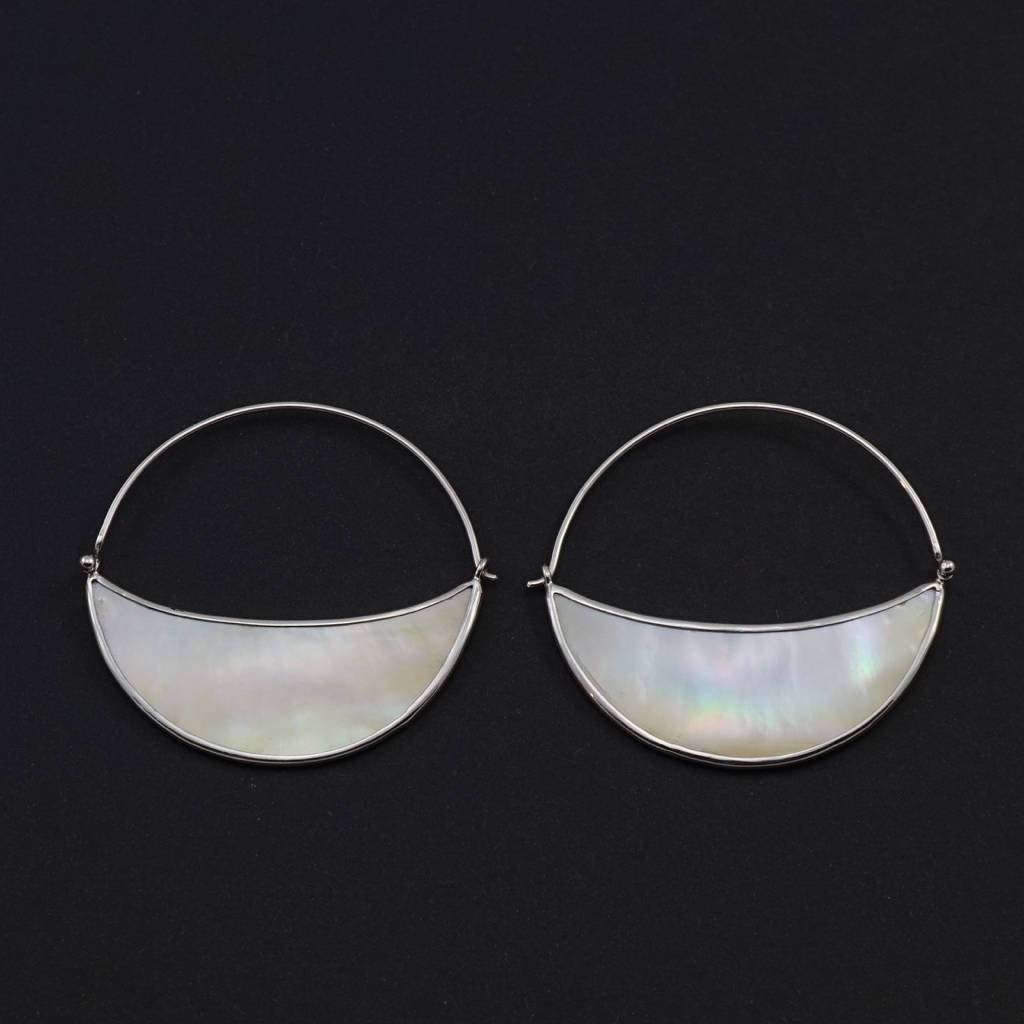 Silver Mother of Pearl Moon Earrings - Crescent moon hoop - Sterling Silver - Lunette Hoop
