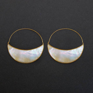Crescent Moon Medium Hoop Earrings - Mother-of-Pearl and Brass
