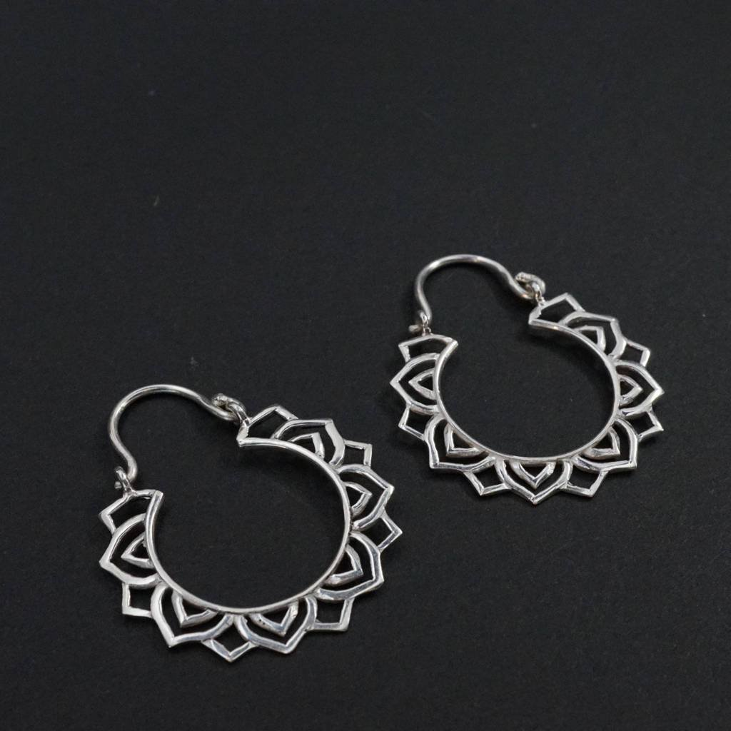 Small Mandala Star Hoop Earrings Sterling Silver - Vega